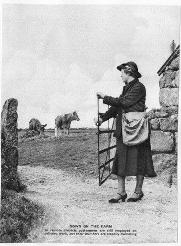 Female postal worker delivers to a farm, c. Mid 20th Century