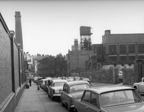 Photograph of Phoenix Place, looking south towards what is now the BPMA on the left, c.1960