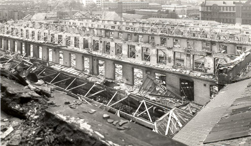 Photograph of the bomb damaged Parcel Office at Mount Pleasant, 1943 (POST 118 -1448)