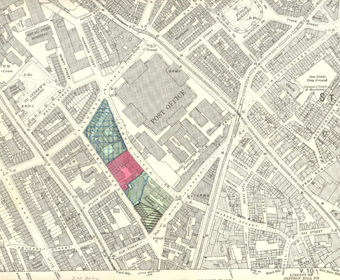 Map showing ownership of property in Phoenix Place c.1952 (POST 122-222)