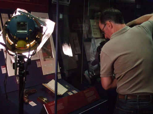 Mail coach material on display as part of our exhibition Treasures of the Archive are filmed