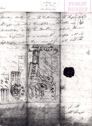 Detail of letter showing 'Carried by Waghorn' cachet, c. 1850 (POST 118/1017)