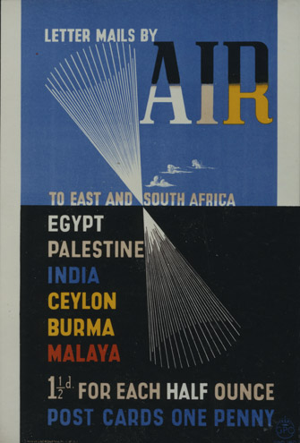Poster promoting airmail routes to India, c. 1938 (POST 110/1167)