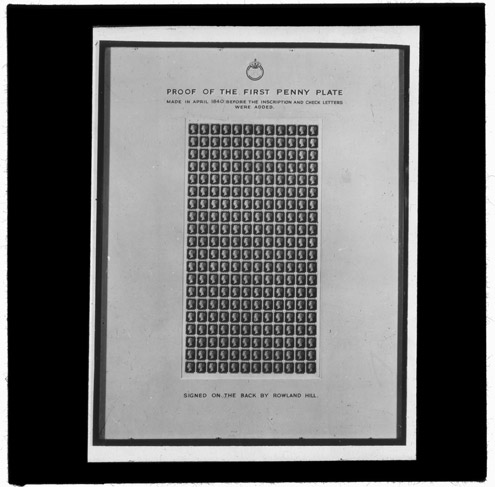 'Proof Sheet of the 1840 Penny Black' – Lantern Slide (2010-0411)