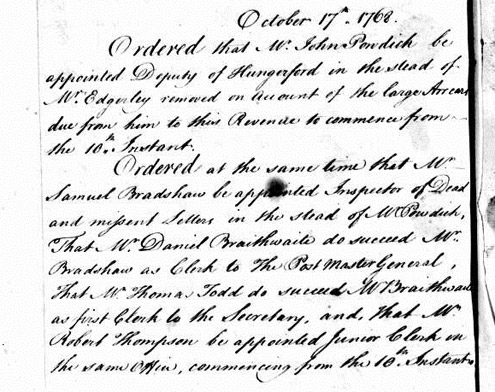 Appointment of Daniel Braithwaite, 1768 (POST 58/1)