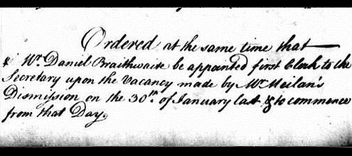 Appointment of Daniel Braithwaite, 1765 (POST 58/1)
