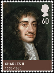 Charles II as he appeared on a stamp