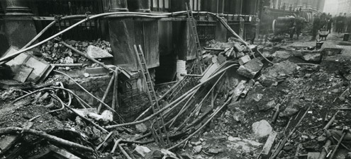 New Cross Exchange, damaged by two High Explosive bombs which fell close to the building on 4 October 1940. (POST 56)