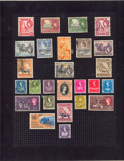 A page from Freddie Mercury's stamp album. Mercury arranged his stamp collection carefully, by country and in manner which balanced colours and sizes.
