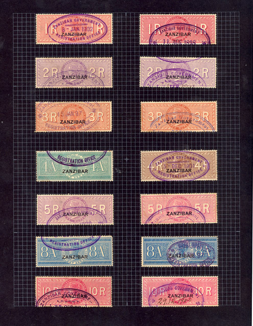 Zanzibar fiscals in Freddie Mercury's stamp album. These are the only stamps in the album of any monetary value.