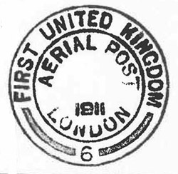First United Kingdom Aerial Post handstamp impression. (2009-0332/1)