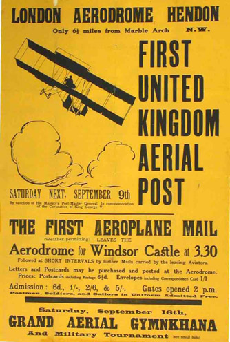 Poster advertising First United Kingdom Aerial Post.