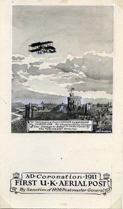 Artwork for Coronation aerial post stationery.