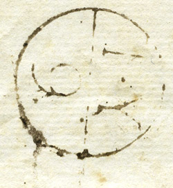 Close-up of the Dublin Bishop mark on Pomery Letter, c. 1747-1797 (OB1996.404/2)