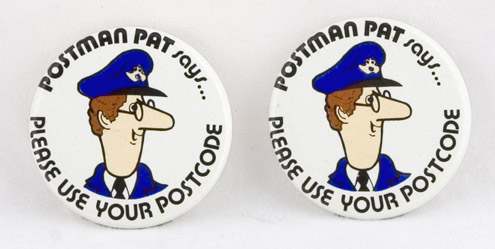'Postman Pat says Please use your Post Code' Badge, 1982 (2002-618)
