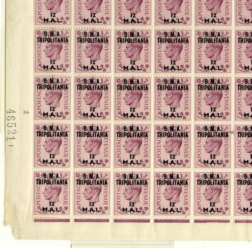 KGVI 6d purple, overprinted 'B.M.A. TRIPOLITANIA 12 M.A.L.', registration sheet, perforated (POST 150/KGVI/O/BRA/ICL/0008)