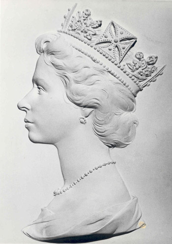Plaster head of HM the Queen made by Arnold Machin for new definitive issue of stamps, third version (POST 118/5373)