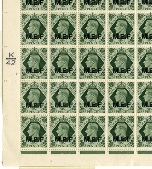 KGVI 9d olive-green, overprinted 'M.E.F.' (Middle East Forces), registration sheet, perforated.  Registration date: 15 September 1942.