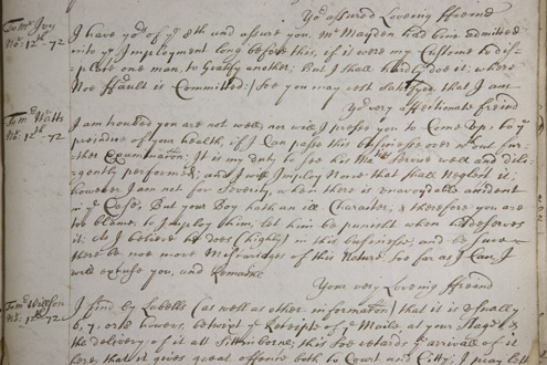 Photo of letter to Mr Watts from the Peover Papers