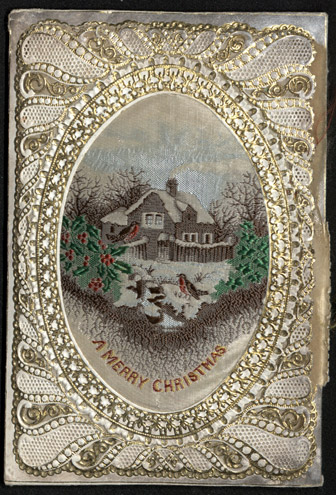 Perfume sachet Christmas card with paper-lace and silk, c.1860-1880 (OB1995.27/8/01)