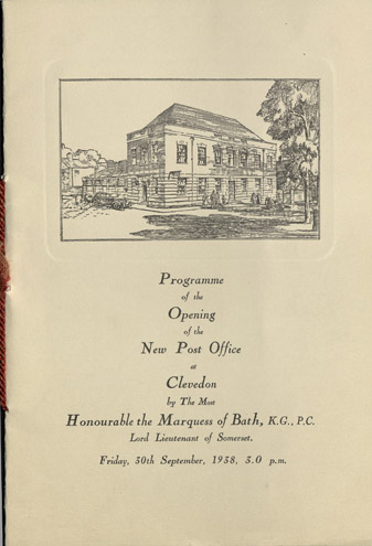 Souvenir programme of the Opening of the New Post Office, Clevedon. One of many such items in the BPMA Portfolio collection.