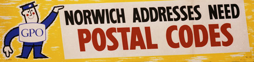 Norwich addresses need postal codes, GPO poster from 1961 (POST 110/4323)