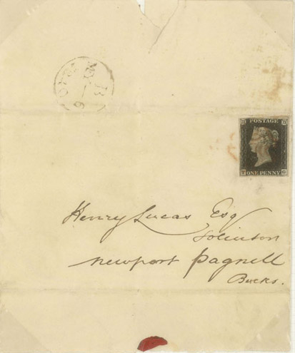 The first 'First Day Cover' in the world, showing a Penny Black used on 6 May 1840, the first day of validity. (Phillips Collection Vol IV/3, POST 141/04)