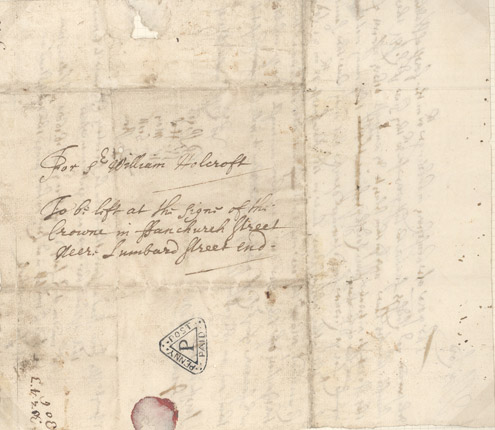 Dockwra Penny Post triangular marking, this letter was discussed on the BBC Radio 4 series (PH (L) 3/07)
