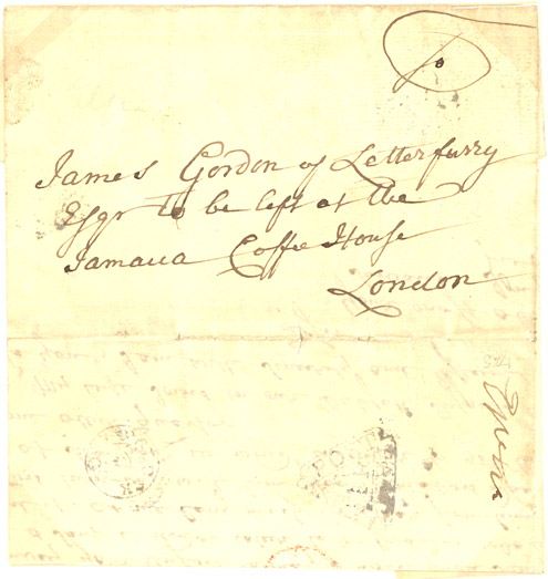 Letter also addressed to James Gordon but this one is stated, 'to be left at the Jamaica Coffee House London' (Postal History Series)