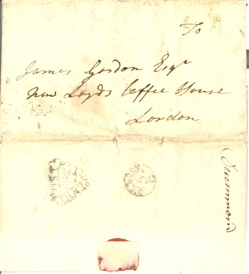 Letter addressed to James Gordon Esq. at the New Lloyds Coffee House London (Postal History Series)