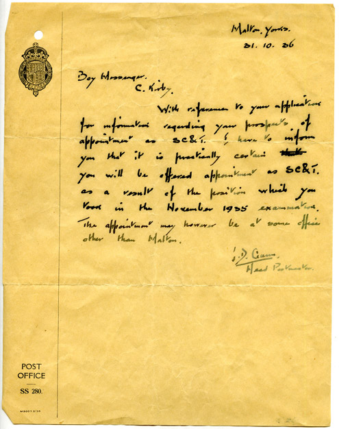 A letter written to Claude Kirby regarding his application for the appointment of Sorting Clerk and Telegraphist, 1936. (2008-0008)