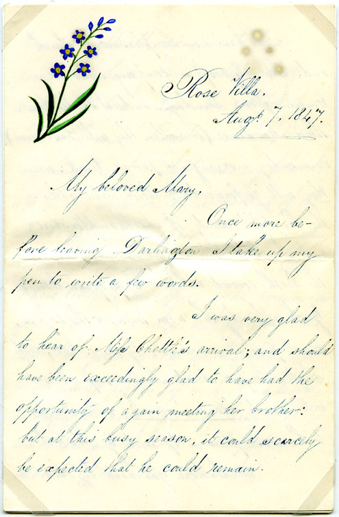 Page 1 of love letter from Robert Abbott to his sweetheart, Mary, c.1845. (OB1995.441/4)