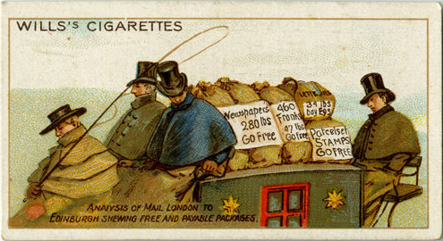 Cigarette card showing parcels on a mail coach with labels saying whether they are free or subject to payment