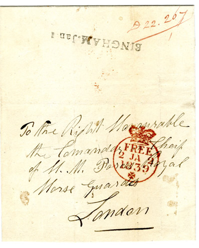 Letter sent free to the Commander in Chief of the forces [he was allowed to receive all letters free], 1839. (Postal History Series)