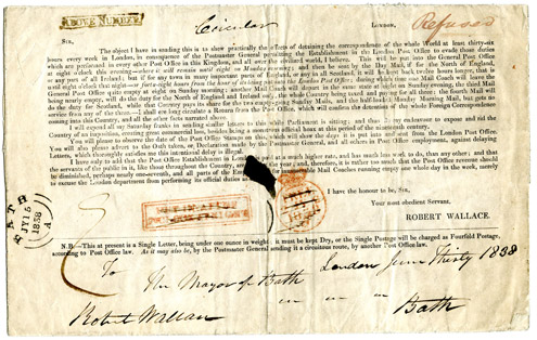 Propaganda envelope sent through the post by Robert Wallace MP explaining the need for postal reform, 1838. (Postal History Series)