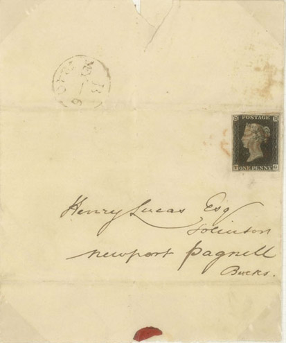 Penny Black stamp used on the first day of issue, 6 May 1840 (POST 141/04, Phillips Collection - Volume IV)