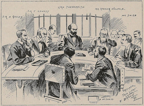 The Tweedmouth Committee at work, pictured on the cover of the Postman's Gazette, 14 March 1896.
