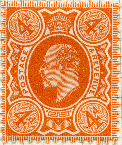 King Edward VII on 4d stamp, issued 1902.