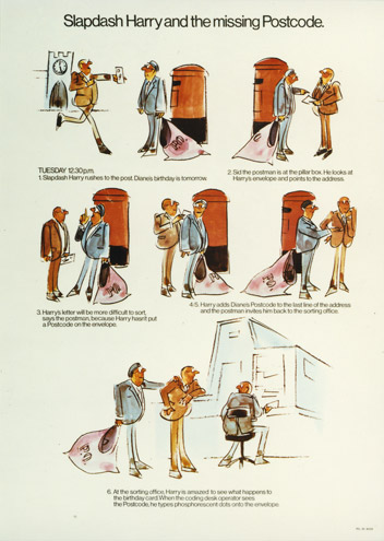 Slapdash Harry and the missing postcode - educational poster featuring a cartoon storyboard explaining postcodes, c. 1970 (POST 110/2686)