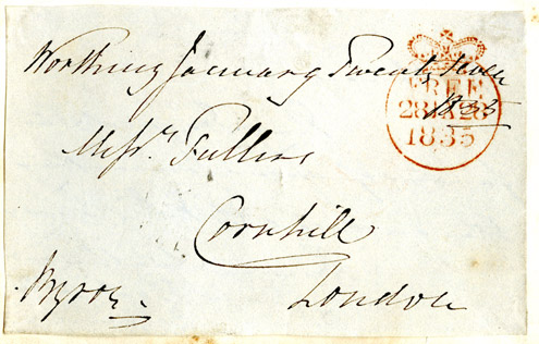 Letter sent free by Lord Byron (member of the House of Lords) with Free handstamp marking, 1835. (Postal History Series)