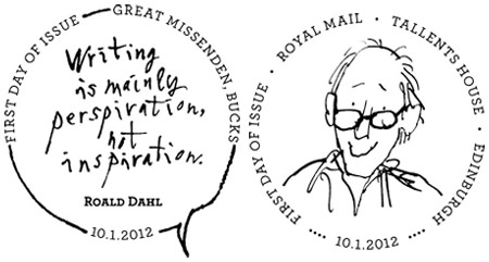 Roald Dahl first day of issue postmarks