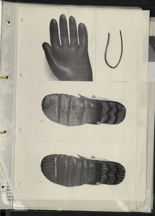 Length of clothes line used to tie up Mrs Grayland, and the type of glove and boot believed to be worn by the offender based on evidence left at Harrogate, 1974. (POST 120/470)