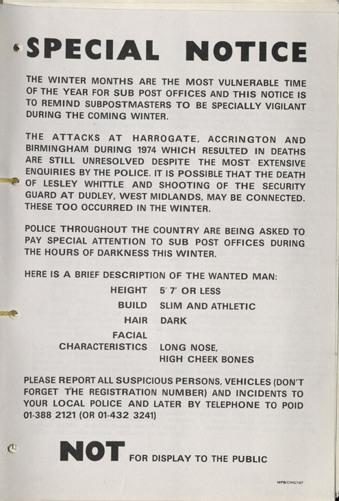Warning to Sub Postmasters to be alert, 1975. (POST 120/471)