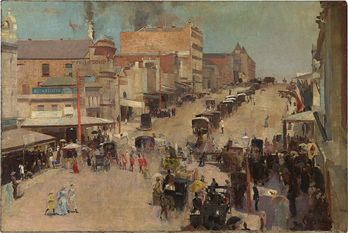 Allegro con brio: Bourke Street west by Tom Roberts, c.1885-86, reworked 1890 (National Gallery of Australia, Canberra and the National Library of Australia, Canberra, purchased 1918)