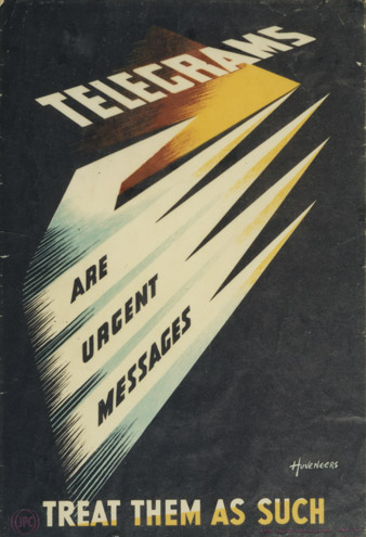 Telegrams are urgent messages, designed by Pieter Huveneers, April 1952 (POST 110/1611, IRP 056)