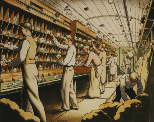 Interior of Travelling Post Office, by George Charlton, 1935 (POST 109/375)