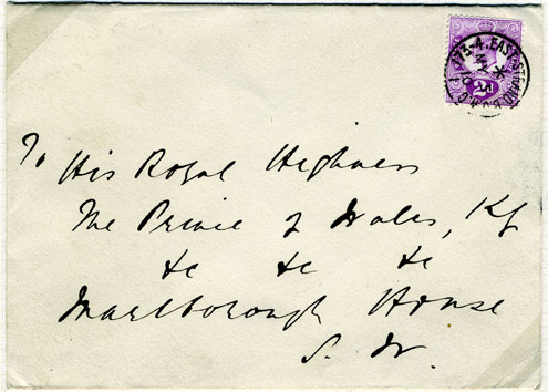 2d Tyrian Plum on a cover sent to the Prince of Wales the day before he became George V. The Tyrian Plum was never issued, and this is the only used example.