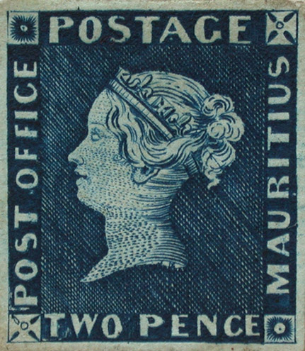 'Post Office Mauritius'. This item from the Royal Philatelic Collection is considered to be the finest of the four surviving examples of this stamp.