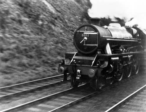 A still from Night Mail showing the mail train on its journey