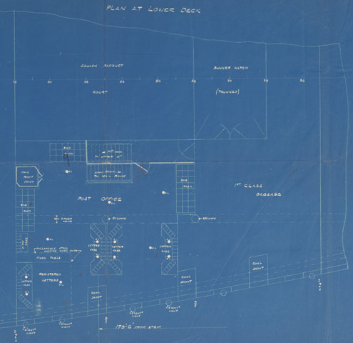 Titanic blue print, detail of Post Office (POST 29/1117)
